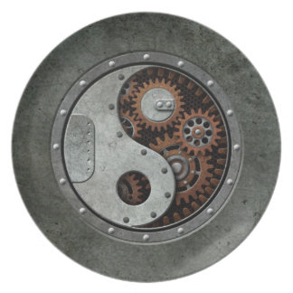 Steampunk Yin Yang Dinner Plate