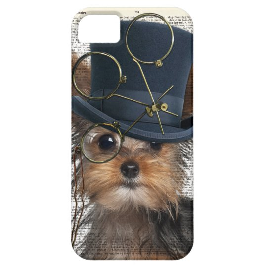 Steampunk Yorkie on a Vintage Dictionary Page iPhone 5 Case