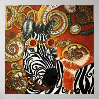 Steampunk Zebra Matte Poster