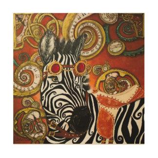 Steampunk Zebra Wood Canvas Print