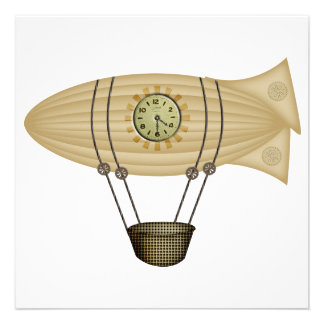 steampunk zeppelin airship personalized invite