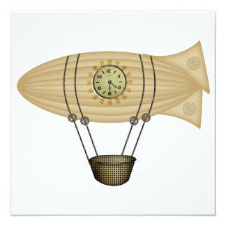 "steampunk zeppelin airship 5.25"" square invitation card"