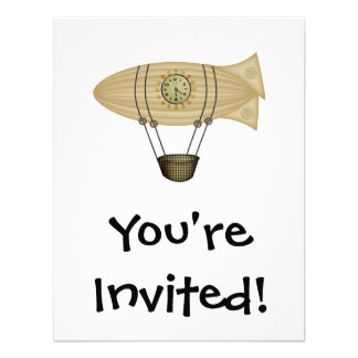 steampunk zeppelin airship personalized invitation
