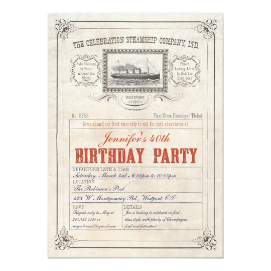 Steamship Cruise Ship Ticket Invitation Birthday