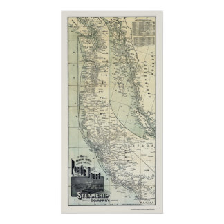 Steamship Routes Advertising Map 1891 Poster