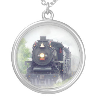 steamtrain silver plated necklace