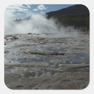 Steamy geysir geyser in Iceland Square Sticker
