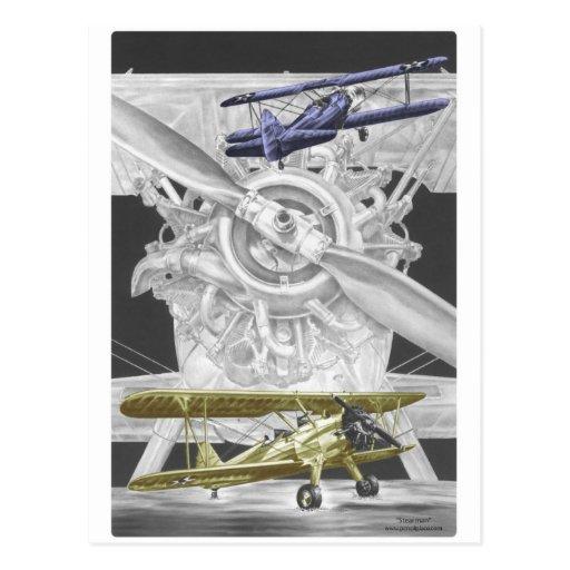 Stearman Biplane Post Card