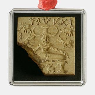 Steatite Pasupati seal, Mohenjodaro, 2300-1750 BC Silver-Colored Square Decoration