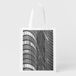Steel and glass curtain wall of modern reusable grocery bag
