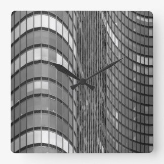 Steel and glass curtain wall of modern square wall clock