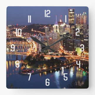 Steel and Indigo Sandwich Square Wall Clock