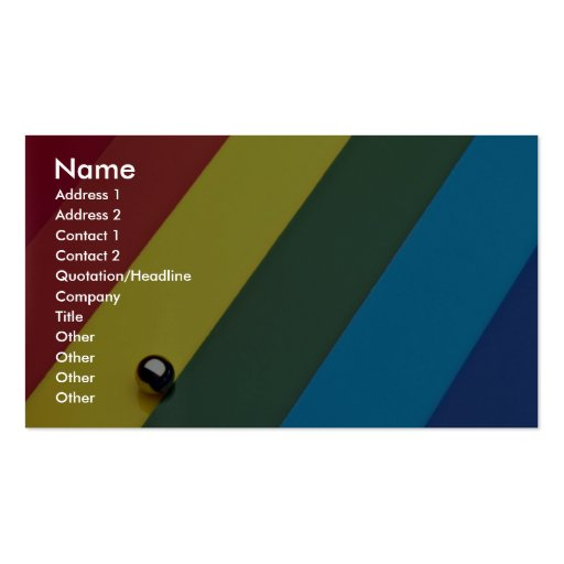 Steel ball on multicolored acrylic business card template