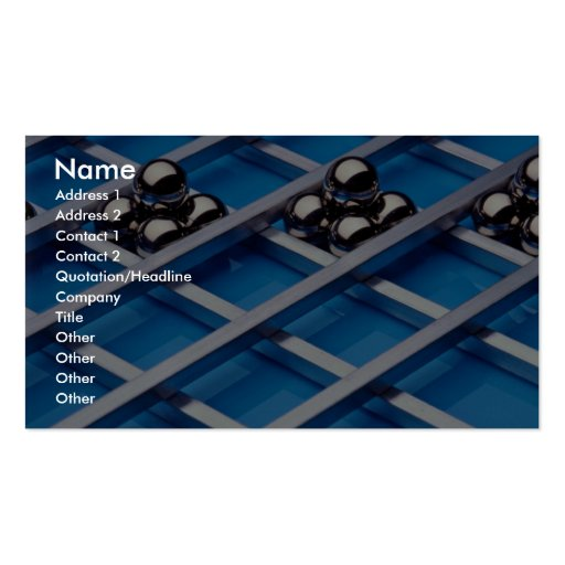 Steel balls and rods on blue acrylic business card templates