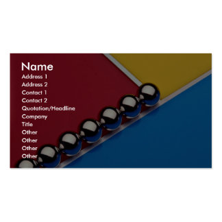 Steel balls and rods on multicolored acrylic business card