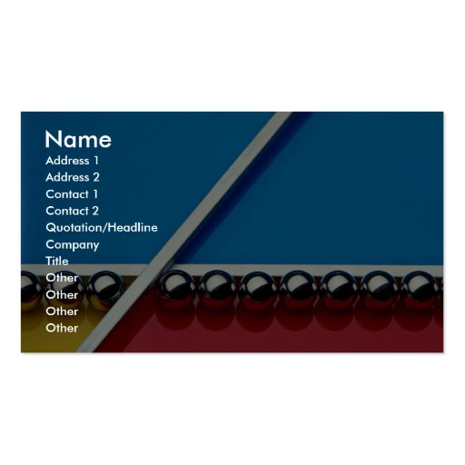 Steel balls and rods on multicolored acrylic business card template