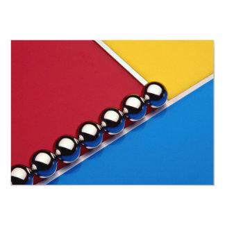 "Steel balls and rods on multicolored acrylic 5"" x 7"" invitation card"