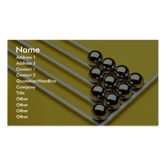Steel balls and rods on yellow acrylic business cards