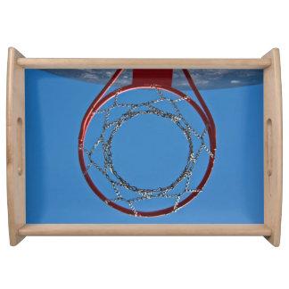 Steel basketball hoop serving tray