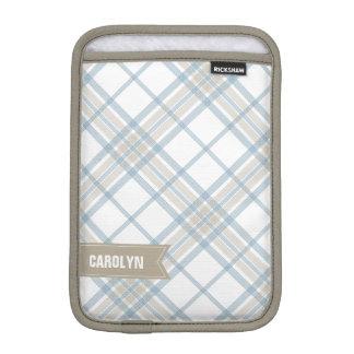 Steel Blue and Tan Plaid Monogram iPad Mini Sleeve