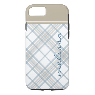 Steel Blue and Tan Plaid Monogram iPhone 7 iPhone 8/7 Case
