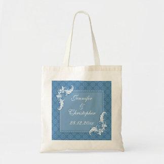 Steel Blue Damask and Floral Frame Wedding Budget Tote Bag