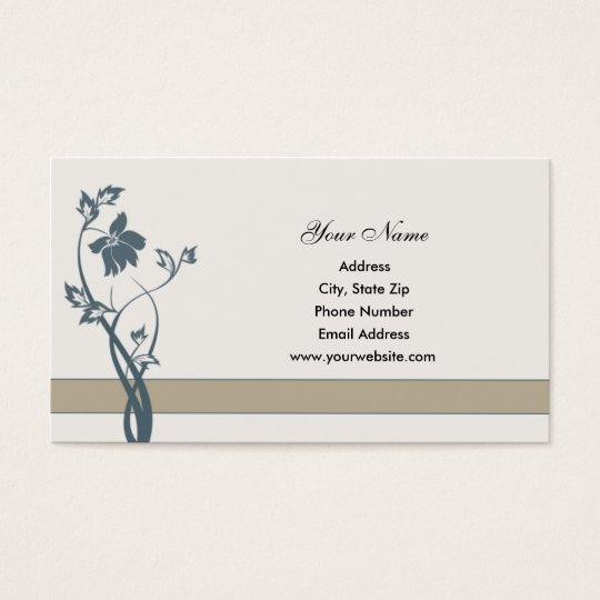 Steel Blue Floral Business Cards