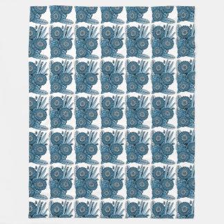Steel Blue Gerbera Daisy Flower Bouquet Fleece Blanket