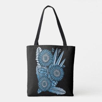 Steel Blue Gerbera Daisy Flower Bouquet Tote Bag