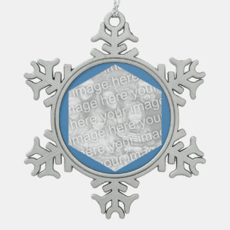 Steel Blue Hexagon Photo Border Snowflake Pewter Christmas Ornament