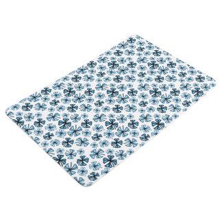 Steel Blue Lucky Shamrock Clover Floor Mat