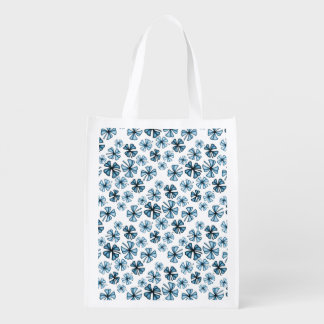 Steel Blue Lucky Shamrock Clover Reusable Grocery Bag