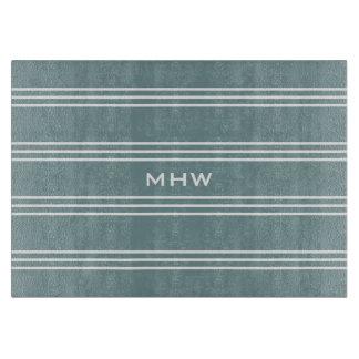 Steel Blue Stripes custom monogram cutting boards