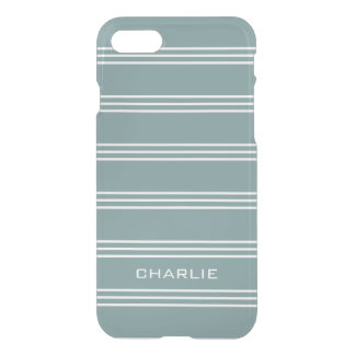 Steel Blue Stripes custom monogram phone cases