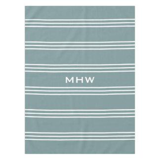Steel Blue Stripes custom monogram table cloths