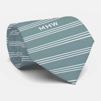 Steel Blue Stripes custom monogram tie