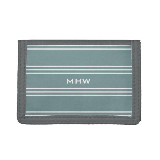 Steel Blue Stripes custom monogram wallets