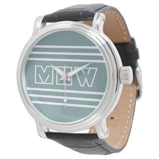 Steel Blue Stripes custom monogram watches