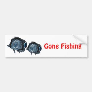 Steel Blue Tropical Butterfly Fish Car Bumper Sticker