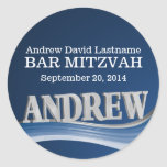 Steel Blue Wave with Name Classic Round Sticker