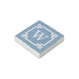 Steel Blue Wht Greek Key Frame #2 Initial Monogram Stone Magnet