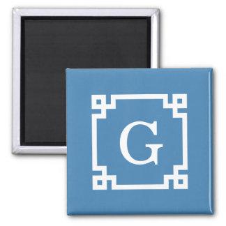 Steel Blue Wht Greek Key Frame #2 Initial Monogram Square Magnet