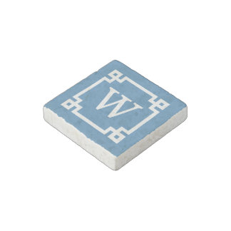 Steel Blue Wht Greek Key Frame #2 Initial Monogram Stone Magnet