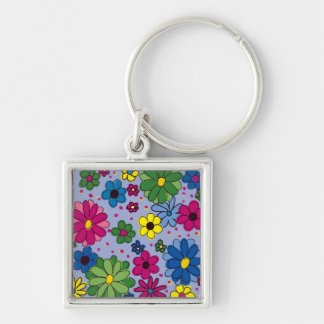 Steel Blue with Colorful Floral Keychain