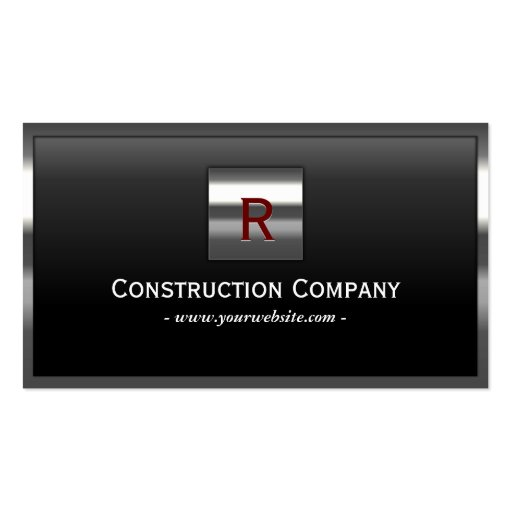 Steel Border Monogram Construction Business Card