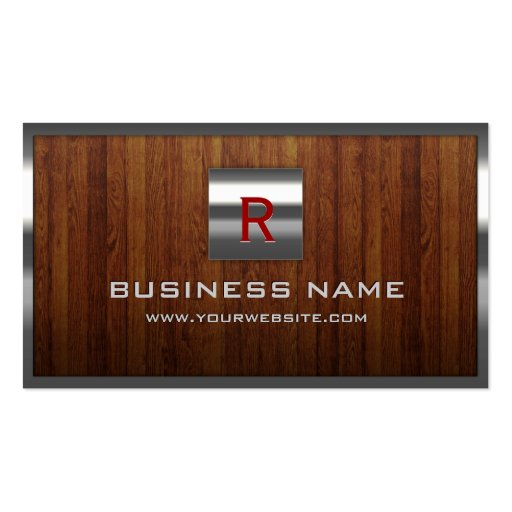 Steel Border Wooden Background Business Card
