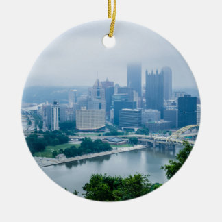 steel city skyline round ceramic decoration