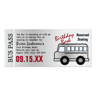 Steel Design 21st Birthday Party Bus Pass 10 Cm X 24 Cm Invitation Card