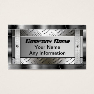 Steel Diamond Pattern Metal Look Business Card