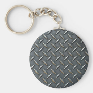 Steel diamond plate key ring